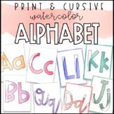 Watercolor Alphabet Print & Cursive