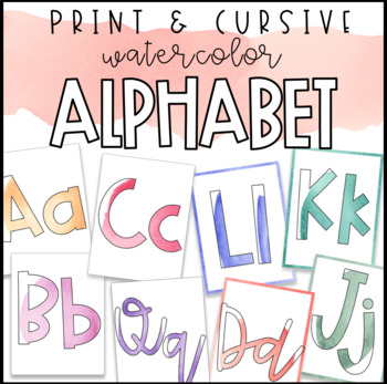 Watercolor Alphabet Print & Cursive