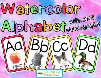 Watercolor Alphabet with Real Pictures