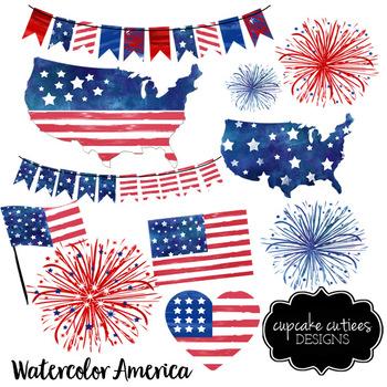 Watercolor America USA Clip Art Illustrations Digital Graphics -Commercial Use