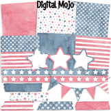Watercolor American Flag Pattern Digital Paper and Clipart