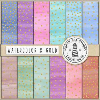 Watercolor And Gold Confetti Digital Paper