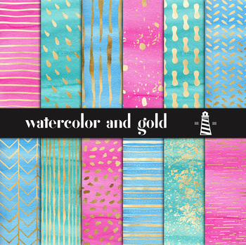 Watercolor And Gold Digital Paper, Hand Painted Gold Patterns