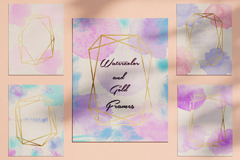 Watercolor And Gold Frames