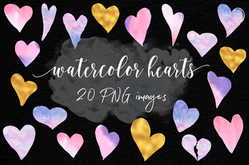 Watercolor And Gold Hearts Clipart