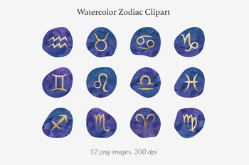 Watercolor And Gold Zodiac Signs, Gold Foil Zodiac Clipart, Horoscope  Symbols
