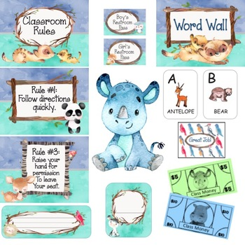 Animal Watercolor Classroom Decoration MEGA Bundle