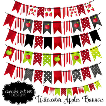 Watercolor Apple  Banner Teacher Digital Clip Art