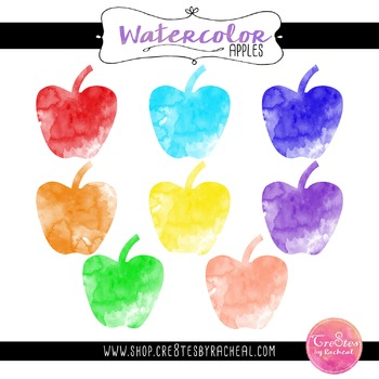 Watercolor Apple Clipart PNG Commercial or Personal Use