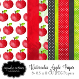 Watercolor Apple  Digital Paper Pack 8.5 x 11