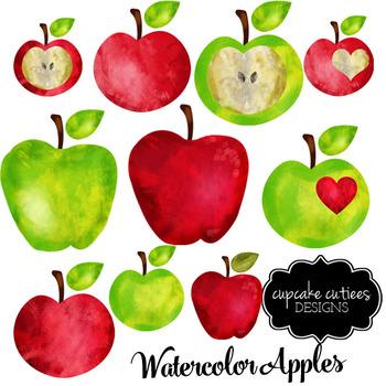 Watercolor Apple Teacher Digital Clip Art