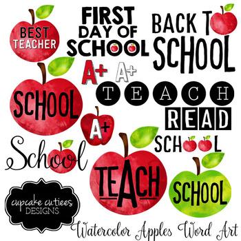 Watercolor Apple Word Art Digital Clip Art