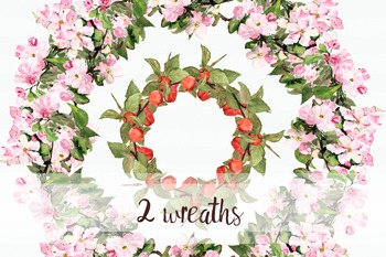 Watercolor Apples Clip Art Collection + Wreaths