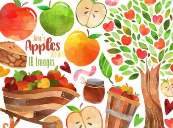 Watercolor Apples Clipart by Digitalartsi   Teachers Pay ... (350 x 258 Pixel)