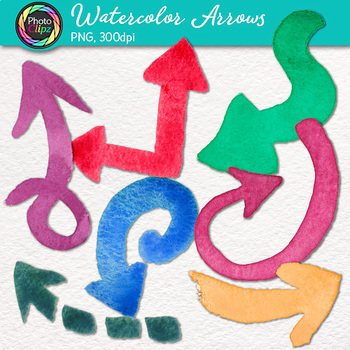 Watercolor Arrow Clip Art {24 Hand-Painted Rainbow Pointers and Page Elements}