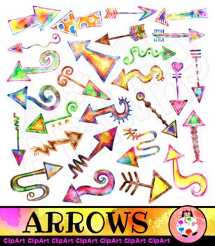 Watercolor Arrow Clip Art Pointers