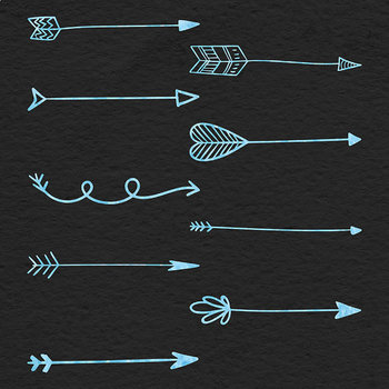 Watercolor Arrows Clipart, Hand Drawn Elements