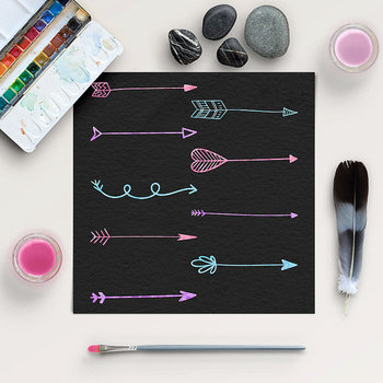 Watercolor Arrows Clipart, Hand Drawn Elements