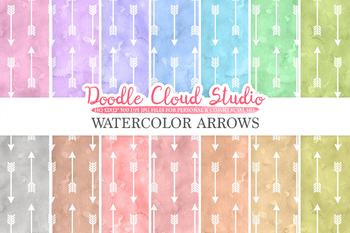 Watercolor Arrows digital paper, Tribal Arrows patterns, pastel colors