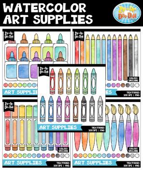 Watercolor Art Supplies Clipart Mega Bundle {Zip-A-Dee-Doo-Dah Designs}