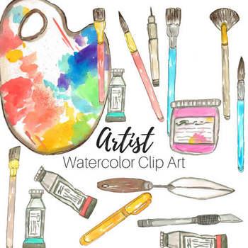 Watercolor Artist Art Supplies Clip Art