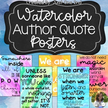 Watercolor Author Quote Posters