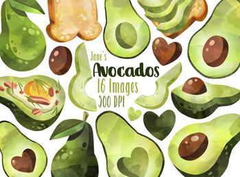 Watercolor Avocados Clipart Set