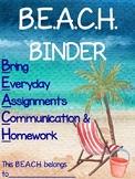 Watercolor B.E.A.C.H. Binder Cover {Parent Communication T