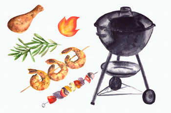 Watercolor BBQ Clip Art Set