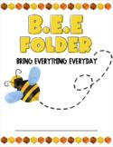 Watercolor BEE Homework Folder or Binder (EDITABLE)