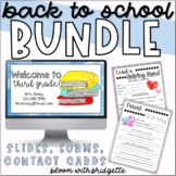 Watercolor Back to School BUNDLE - Powerpoint, Forms, Contact Cards