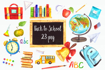 Watercolor Back to School Clip Art Set