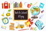 Watercolor Back to School Clip Art Set