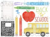 Watercolor Back to School Digital Clip Art Set