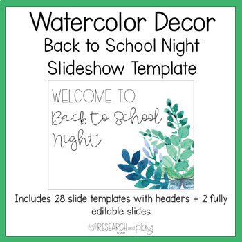 Watercolor Back to School Night Editable PowerPoint