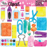Watercolor Back to School Supplies Teacher Toolbox Clipart