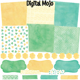 Watercolor Background Paper Clipart, Washi Tape, Frames Gr