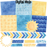 Watercolor Background Paper and Clipart - Summer, Sun, Waves