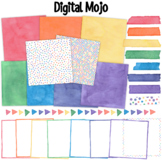 Watercolor Clipart Rainbow Digital Paper Borders Page Dividers