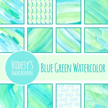 Watercolor Backgrounds - Blue and Green Water Color Handpainted Clip Art