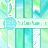 Watercolor Backgrounds - Blue and Green Handpainted Digita