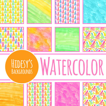 Watercolor Backgrounds / Digital Papers Conical Flasks - Science or Chemistry
