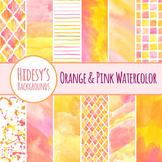 Watercolor Backgrounds - Pink and Orange Water color Handpainted Clip Art