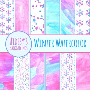Watercolor Backgrounds  - Winter Watercolour Handpainted Clip Art Commercial Use