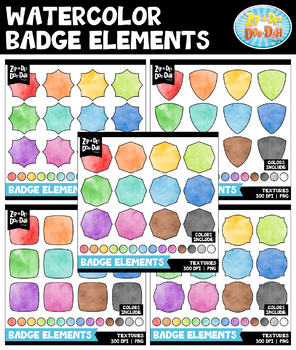 Watercolor Badges Clipart Mega Bundle {Zip-A-Dee-Doo-Dah Designs}