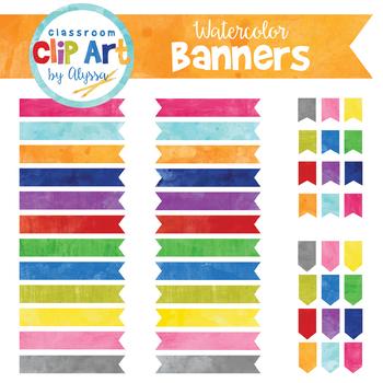 Watercolor Banner Clip Art