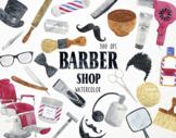 Watercolor Barber Shop Clipart, Barber Shop Graphics, Barb