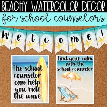 Watercolor Beach Decor Mini Set for School Counseling Office Ocean Decor