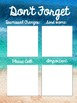 Watercolor Beach {Freebie} Sticky Note Reminder:  Don't Forget!
