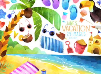 Watercolor Beach Vacation Clipart